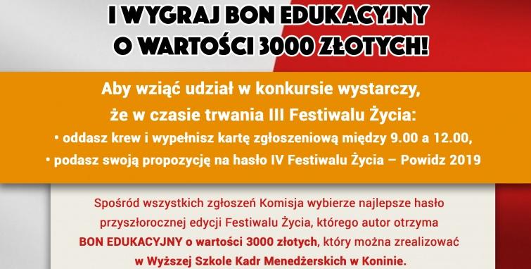 III festiwal życia - konkurs na hasło przyszłej edycji festiwalu