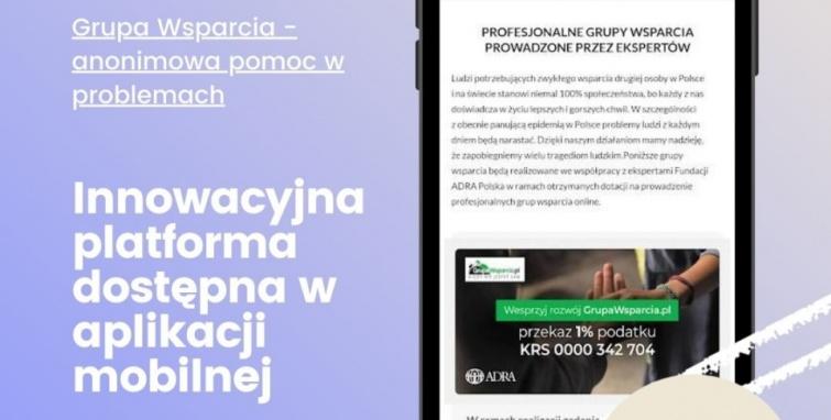 Pierwsza w Polsce anonimowa i darmowa platforma wsparcia dostępna w aplikacji mobilnej
